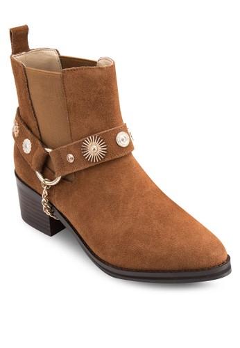 Odell 造型鉚釘麂皮高筒esprit台灣門市踝靴, 韓系時尚, 梳妝