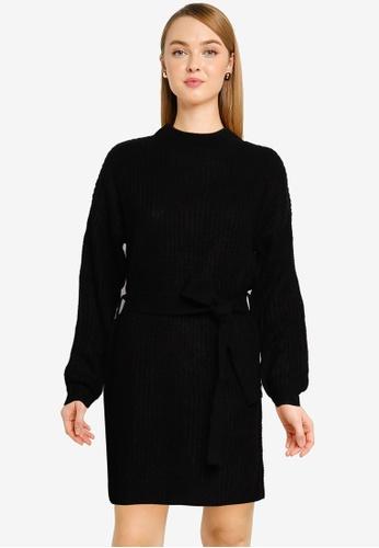 MISSGUIDED 黑色 高領 基本洋裝 With 腰帶 37C90AAFE51B3FGS_1