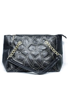 Leather Shoulder Bag with Chain Straps