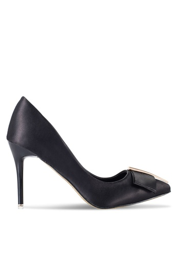 Nose black Pointed Heel Pumps With Bow NO327SH86SJPMY_1