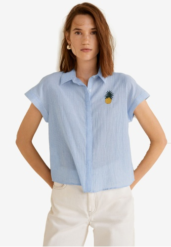 Mango blue Embroidered Cotton Shirt 55CE3AA5A84D37GS_1