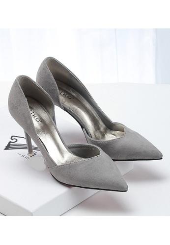 Sunnydaysweety grey Women Pointed Suede  High-heeled Shoes C10141GY SU443SH89LOWHK_1