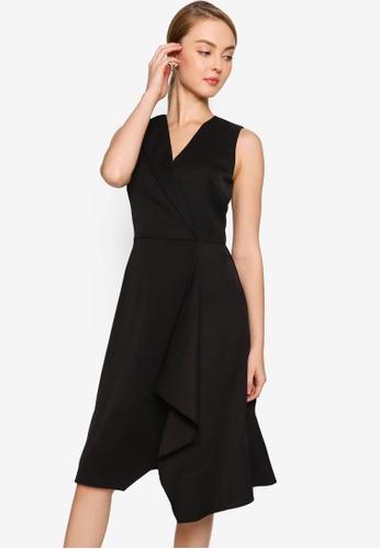 ZALORA WORK black Asymmetric Ruffle Dress 8B12AAAEADDD0FGS_1