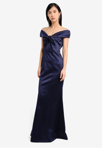 Goddiva navy Bardot Maxi Dress With Twisted Neckline GO975AA0SSBYMY_1