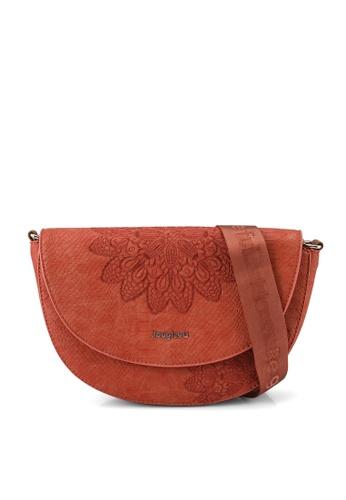 Desigual orange Reptile Embroidery Crossbody Bag 5D20FAC7DCF55BGS_1