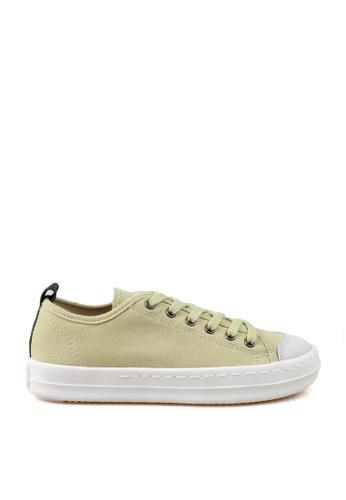 J.DAUL 綠色 經典厚底真皮帆布休閒鞋 JD556SH09Q5STW_1