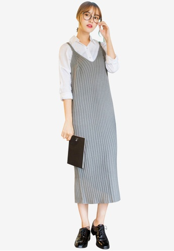 Tokichoi grey Knit Dress with Shoulder Straps C7535AA8D95F00GS_1