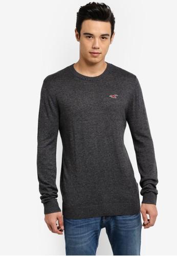 Hollister grey Crew Neck Knitted Sweatshirt HO422AA80INBMY_1