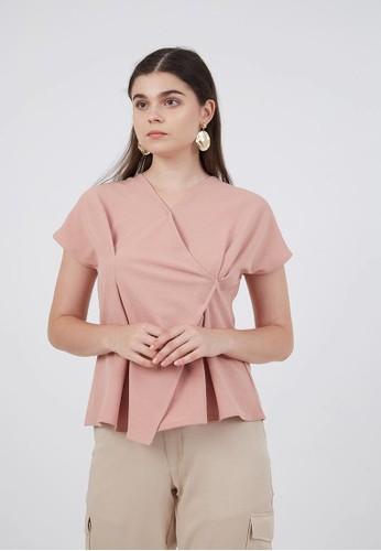 Berrybenka Label pink Sophie Mora Tucked Blouse Pink E6EDBAA98926E0GS_1