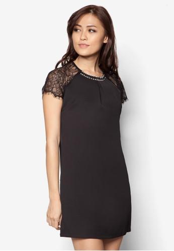 蕾esprit官網絲拼肩連身裙, 服飾, 洋裝