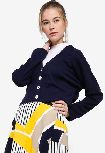 Something Borrowed navy Cropped Button Down Cardigan C54BCAA1BDDE27GS_1