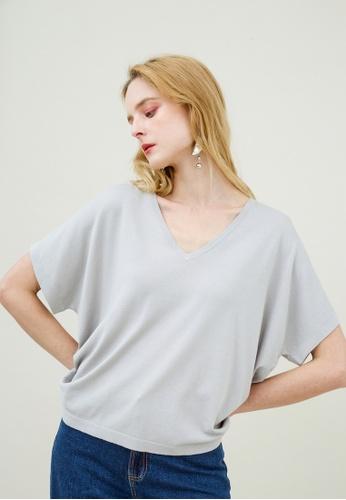 KLAPS grey V-neck Batwing Sweater 73E32AA2EA8075GS_1