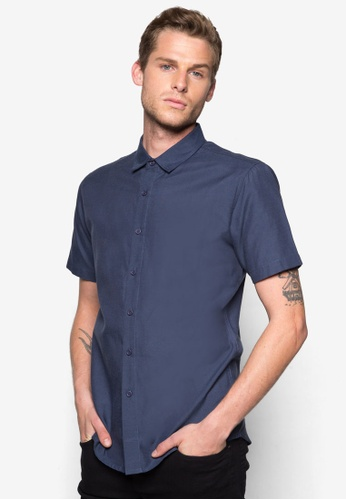 ZALORA navy Basic Short Sleeve Oxford Shirt ZA919AA54WUFSG_1