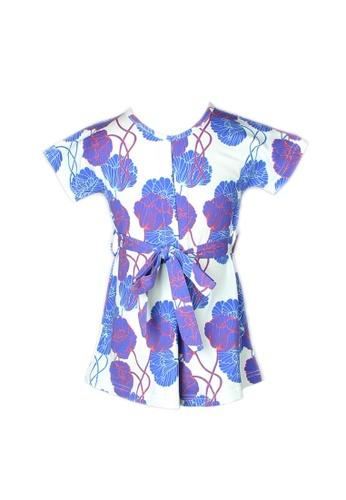 Mini Moley blue Neon Peony Print Flare Dress 58E2FKACC78357GS_1