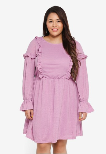 Junarose purple Plus Size Dilara Above Knee Dress B642EAA9D8AAB0GS_1