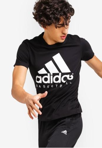 adidas 黑色 素色LOGO短袖印花T恤 83647AABFA4B11GS_1
