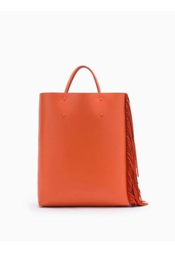 Calvin Klein orange Enveloped Tote Bag With Fringes B110EACA1B1DA4GS_1