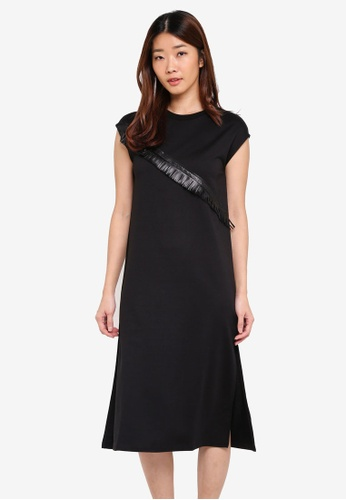 Something Borrowed black High Slit Midi Dress with Fringe Trim 96D29AA2162E24GS_1