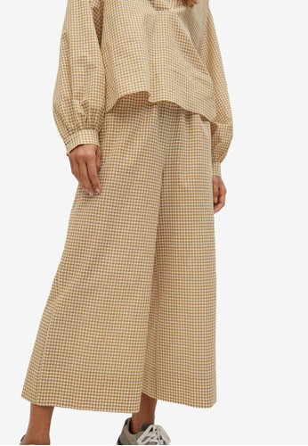 Mango yellow Gingham Check Culotte Trousers 49AAEAA9447ED9GS_1