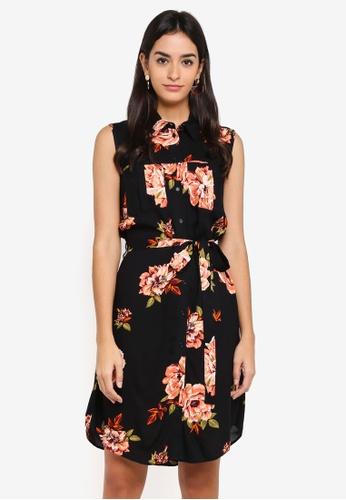 Dorothy Perkins black Floral Print Shirtdress 0B6F8AA1E8CB89GS_1