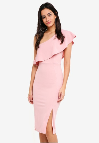 82f66226e4d MISSGUIDED pink One Shoulder Frill Split Midi Dress 764DFAAEFEACD7GS 1