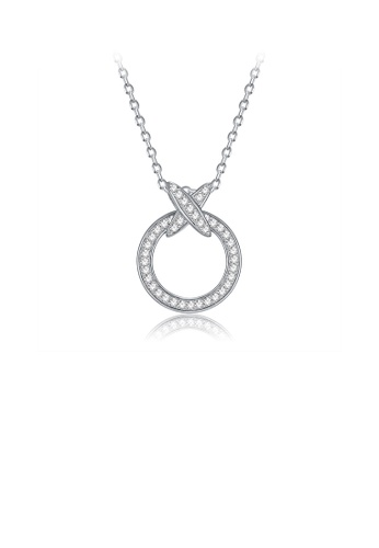 Glamorousky white 925 Sterling Silver Simple Cross Circle Pendant with Cubic Zircon and Necklace 5BBEAACDC3CFC7GS_1