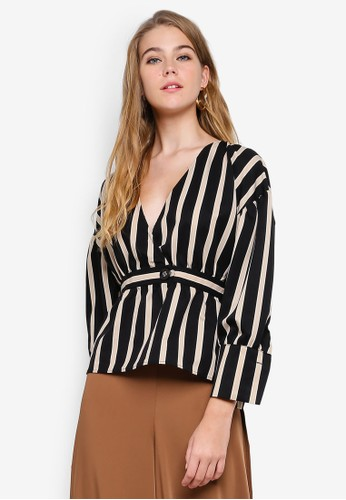 bYSI multi V-Neck Wrap Stripe Top 86A97AA546A551GS_1