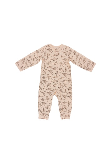 Baby Lovett pink Leaves in the Breeze Two-Way Zipper Suit 50C64KA92CE55BGS_1