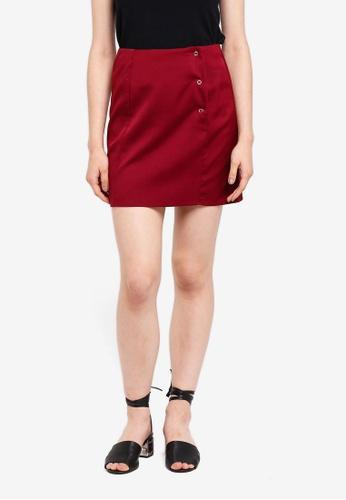 Something Borrowed red Popper Mini Skirt E9370AA4B75D53GS_1