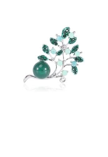 Glamorousky green Fashion Simple Green Leaf Imitation Pearl Brooch with Cubic Zirconia 75D34AC36D7DB6GS_1