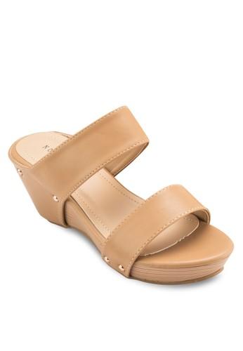 雙帶楔型跟休閒涼鞋, 女鞋, 楔形esprit 香港涼鞋
