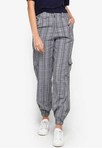 Factorie black and white Check Utility Pants D2D55AAE4396B3GS_1