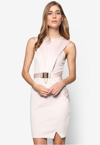 Mk 鍊式腰繫帶裹式無袖連身裙, 服飾,zalora 內衣 洋裝