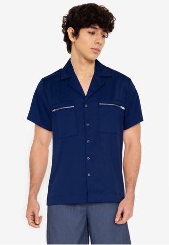 ZALORA BASICS navy Zipped Pocket Shirt B07A1AA418B33BGS_1