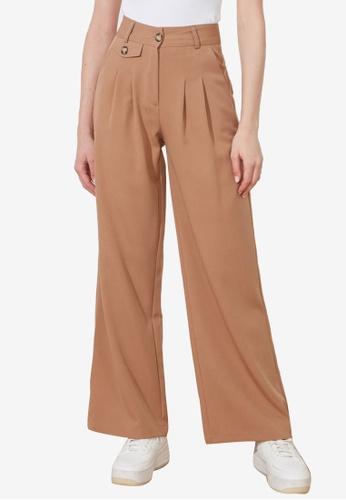 Trendyol 褐色 經典鈕釦 Detail 闊管裁剪 長褲 B5D43AA39E041FGS_1