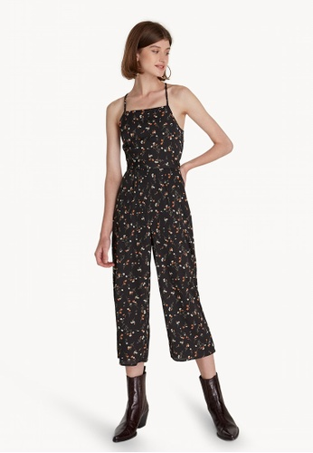 a6d29dbe78af Pomelo black Cropped Floral Cross Back Jumpsuit - Black CA044AACF9BC50GS 1