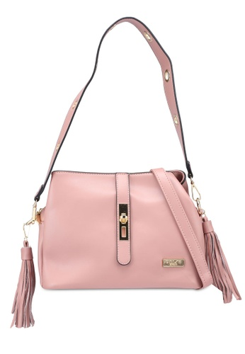 Unisa pink Faux Leather Shoulder Bag With Tassel 54CA2ACAC879F2GS_1