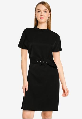 ZALORA WORK black High Neck Shift Dress 9A3DDAAB41A540GS_1