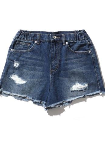 Fingercroxx blue Golden Bee frayed distressed denim shorts D19B6AA6A945DEGS_1
