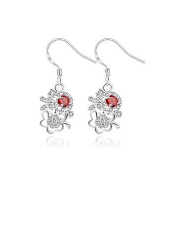 Glamorousky red Elegant Romantic Flower Earrings with Red Cubic Zircon 3C3C3ACB8A8168GS_1