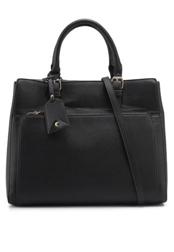 Mango black Pebbled Tote Bag D7CD5ACB6FB5A2GS_1