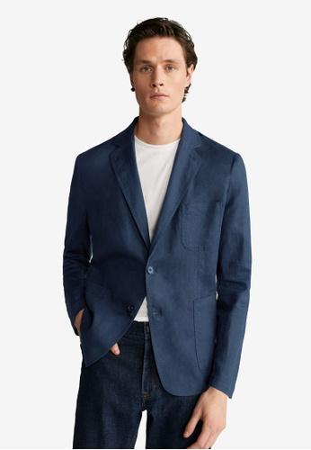 MANGO Man blue 100% Linen Slim Fit Blazer C62E6AAF1D9C0DGS_1