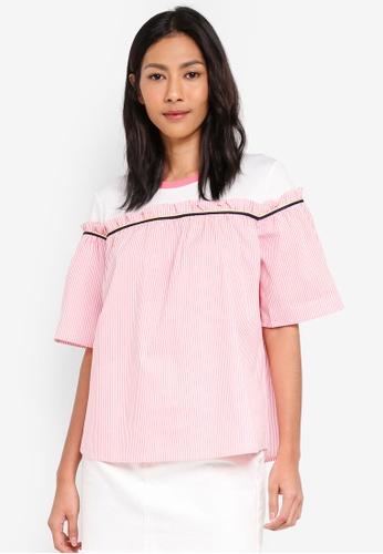 ESPRIT pink Woven Short Sleeve Blouse AC89FAAE64364CGS_1