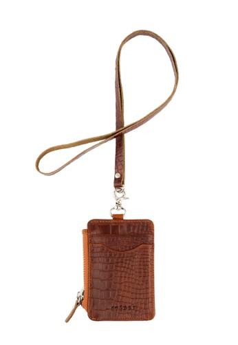 Starke Leather Co brown STARKE's Zippered ID Card Holder Hustle Hog II Light Brown Crocodile Textured 936CAACC2860BAGS_1