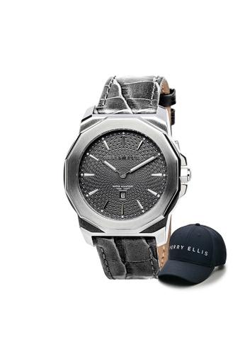 Perry Ellis black Perry Ellis Decagon Unisex 42mm Quartz Watch 08005-01 with Perry Ellis Cap 48F0FACD997851GS_1