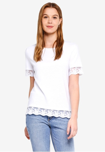 ESPRIT white Lace Hem Short Sleeve T-Shirt 30AC7AA91103AAGS_1