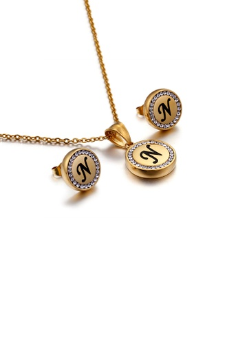 Glamorousky white Fashion and Simple Plated Gold English Alphabet N Geometric Round Cubic Zirconia with 316L Stainless Steel Necklace and Stud Earrings Set AC303AC33FC277GS_1