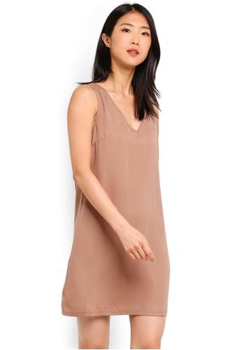 ZALORA BASICS brown Basic V-Neck Shift Dress F44ACAA7AF5641GS_1
