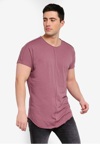 Only & Sons pink and purple Earl Raw Longy Tee 2ECEFAA9EC1FDFGS_1