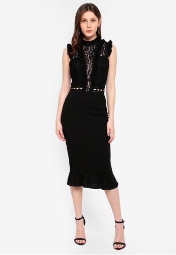 AX Paris black Lace Ruffle Hem Sleeve Dress EF5C2AA1DBFFF4GS_1